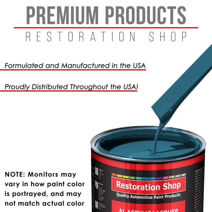 Medium Blue - Acrylic Lacquer Auto Paint - Complete Quart Paint Kit with Medium Thinner - Professional Gloss Automotive, Car, Truck, Guitar and Furniture Refinish Coating