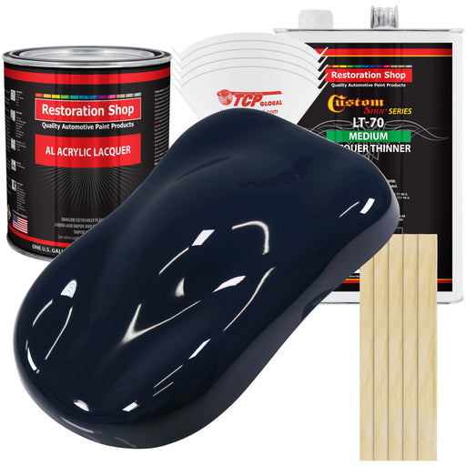 Midnight Blue - Acrylic Lacquer Auto Paint - Complete Gallon Paint Kit with Medium Thinner - Professional Gloss Automotive, Car, Truck, Guitar & Furniture Refinish Coating