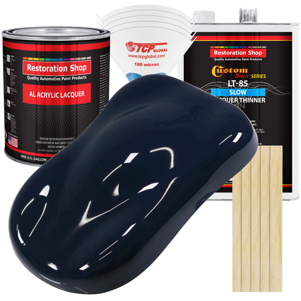 Midnight Blue - Acrylic Lacquer Auto Paint - Complete Gallon Paint Kit with Slow Dry Thinner - Professional Gloss Automotive, Car, Truck, Guitar, Furniture Refinish Coating