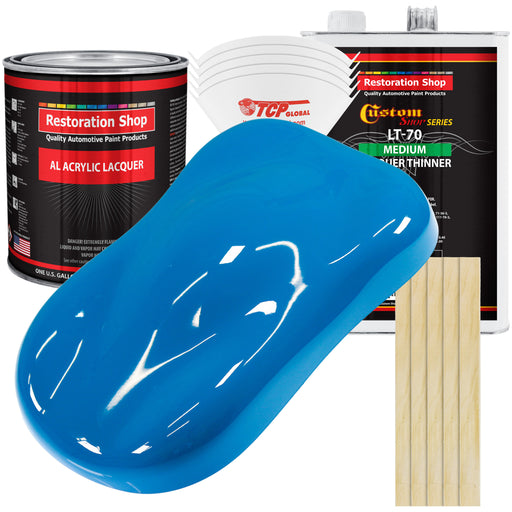 Speed Blue - Acrylic Lacquer Auto Paint - Complete Gallon Paint Kit with Medium Thinner - Professional Gloss Automotive, Car, Truck, Guitar & Furniture Refinish Coating