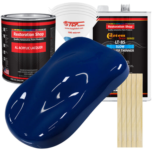 Marine Blue - Acrylic Lacquer Auto Paint - Complete Gallon Paint Kit with Slow Dry Thinner - Professional Gloss Automotive, Car, Truck, Guitar, Furniture Refinish Coating