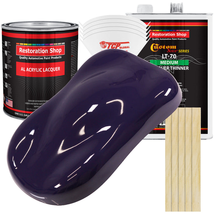 Majestic Purple - Acrylic Lacquer Auto Paint - Complete Gallon Paint Kit with Medium Thinner - Professional Gloss Automotive, Car, Truck, Guitar & Furniture Refinish Coating