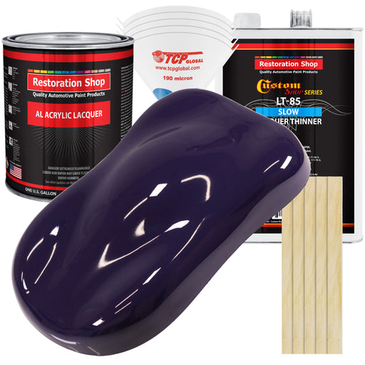 Majestic Purple - Acrylic Lacquer Auto Paint - Complete Gallon Paint Kit with Slow Dry Thinner - Professional Gloss Automotive, Car, Truck, Guitar, Furniture Refinish Coating