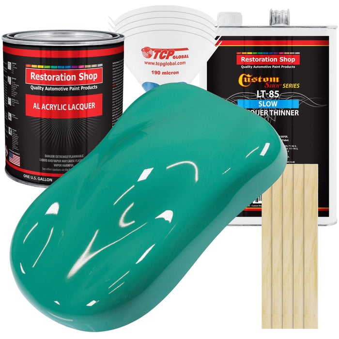 Tropical Turquoise - Acrylic Lacquer Auto Paint - Complete Gallon Paint Kit with Slow Dry Thinner - Professional Gloss Automotive, Car, Truck, Guitar, Furniture Refinish Coating