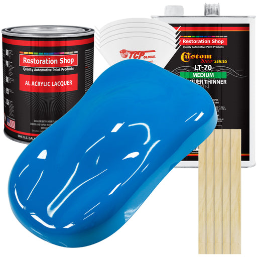 Coastal Highway Blue - Acrylic Lacquer Auto Paint - Complete Gallon Paint Kit with Medium Thinner - Professional Gloss Automotive, Car, Truck, Guitar & Furniture Refinish Coating