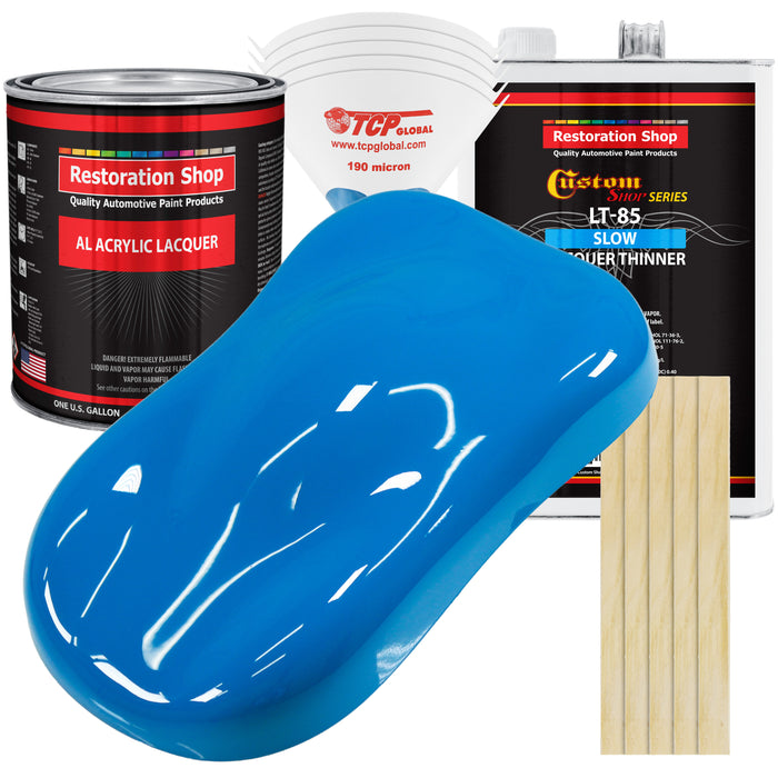 Coastal Highway Blue - Acrylic Lacquer Auto Paint - Complete Gallon Paint Kit with Slow Dry Thinner - Professional Gloss Automotive, Car, Truck, Guitar, Furniture Refinish Coating