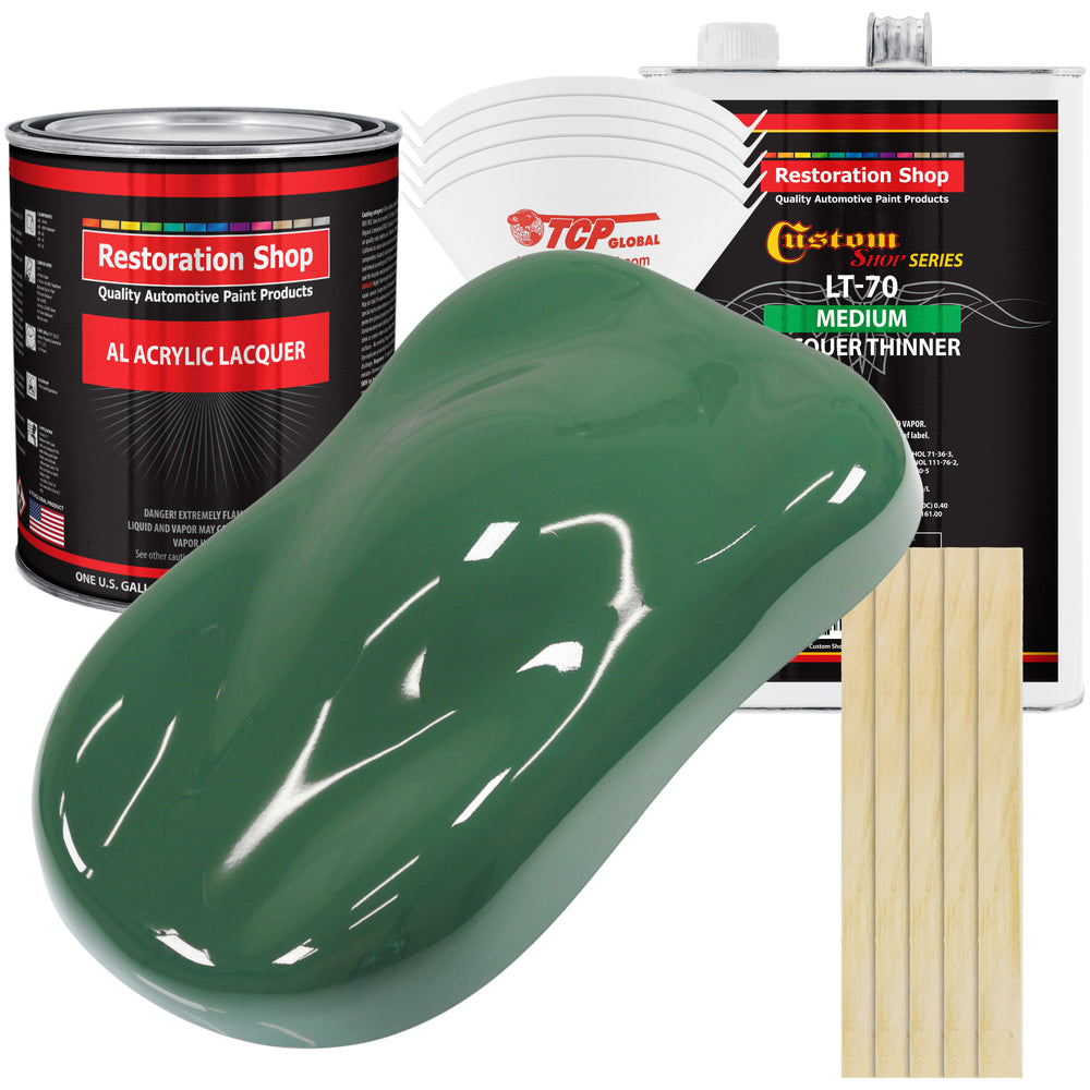 Transport Green - Acrylic Lacquer Auto Paint - Complete Gallon Paint Kit with Medium Thinner - Professional Gloss Automotive, Car, Truck, Guitar & Furniture Refinish Coating