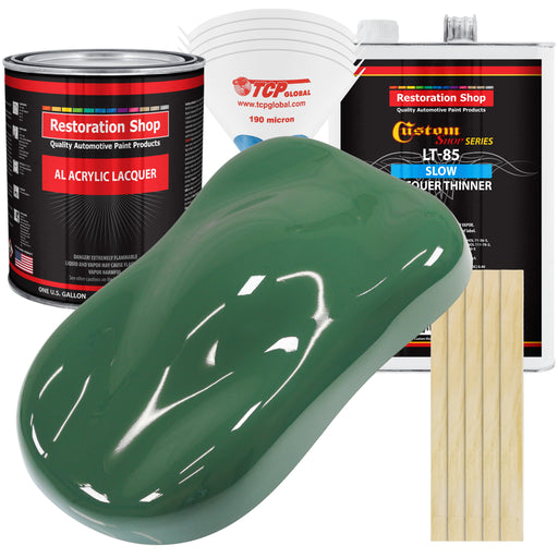 Transport Green - Acrylic Lacquer Auto Paint - Complete Gallon Paint Kit with Slow Dry Thinner - Professional Gloss Automotive, Car, Truck, Guitar, Furniture Refinish Coating
