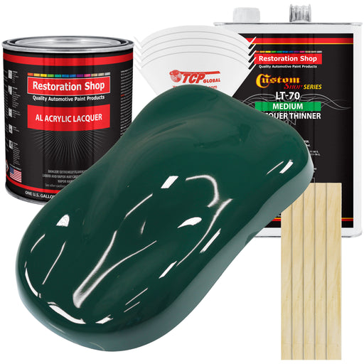 Woodland Green - Acrylic Lacquer Auto Paint - Complete Gallon Paint Kit with Medium Thinner - Professional Gloss Automotive, Car, Truck, Guitar & Furniture Refinish Coating