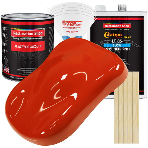 Monza Red - Acrylic Lacquer Auto Paint - Complete Gallon Paint Kit with Slow Dry Thinner - Professional Gloss Automotive, Car, Truck, Guitar, Furniture Refinish Coating