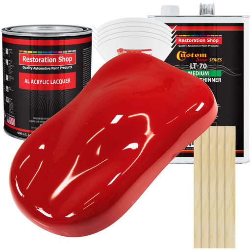 Rally Red - Acrylic Lacquer Auto Paint - Complete Gallon Paint Kit with Medium Thinner - Professional Gloss Automotive, Car, Truck, Guitar & Furniture Refinish Coating