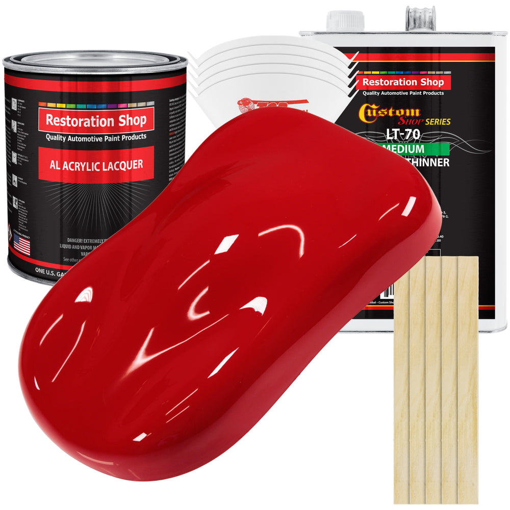 Reptile Red - Acrylic Lacquer Auto Paint - Complete Gallon Paint Kit with Medium Thinner - Professional Gloss Automotive, Car, Truck, Guitar & Furniture Refinish Coating