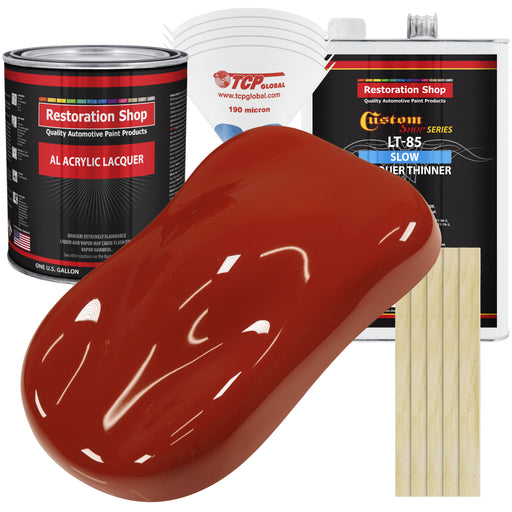 Scarlet Red - Acrylic Lacquer Auto Paint - Complete Gallon Paint Kit with Slow Dry Thinner - Professional Gloss Automotive, Car, Truck, Guitar, Furniture Refinish Coating