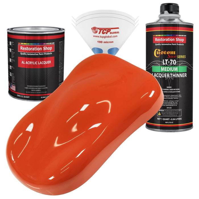 Speed Orange - Acrylic Lacquer Auto Paint - Complete Quart Paint Kit with Medium Thinner - Professional Gloss Automotive, Car, Truck, Guitar and Furniture Refinish Coating