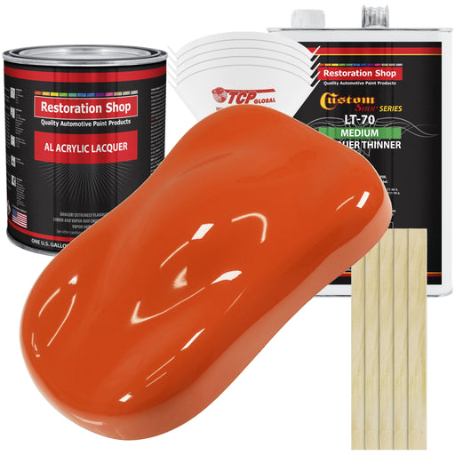 Hugger Orange - Acrylic Lacquer Auto Paint - Complete Gallon Paint Kit with Medium Thinner - Professional Gloss Automotive, Car, Truck, Guitar & Furniture Refinish Coating