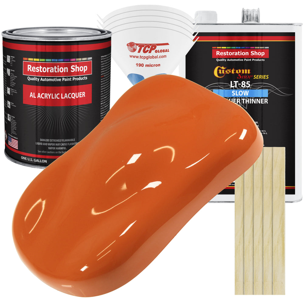 Sunset Orange - Acrylic Lacquer Auto Paint - Complete Gallon Paint Kit with Slow Dry Thinner - Professional Gloss Automotive, Car, Truck, Guitar, Furniture Refinish Coating