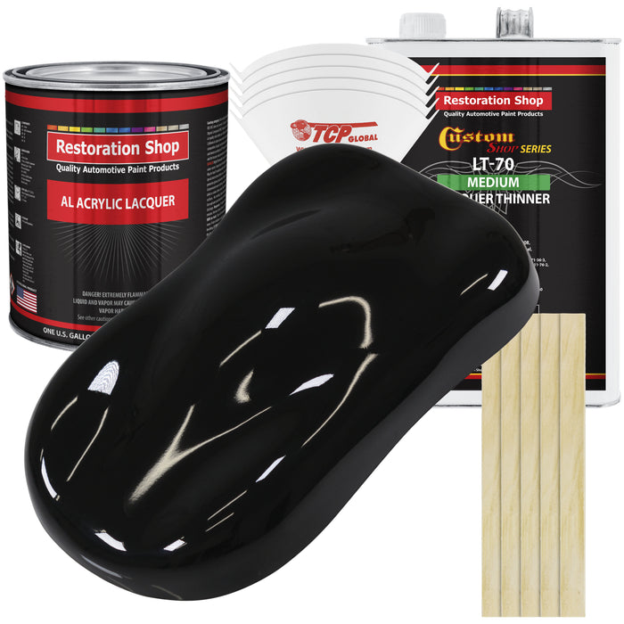 Jet Black (Gloss) - Acrylic Lacquer Auto Paint - Complete Gallon Paint Kit with Medium Thinner - Professional Gloss Automotive, Car, Truck, Guitar & Furniture Refinish Coating