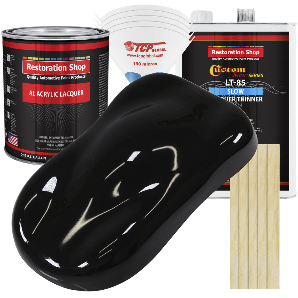 Boulevard Black - Acrylic Lacquer Auto Paint - Complete Gallon Paint Kit with Slow Dry Thinner - Professional Gloss Automotive, Car, Truck, Guitar, Furniture Refinish Coating