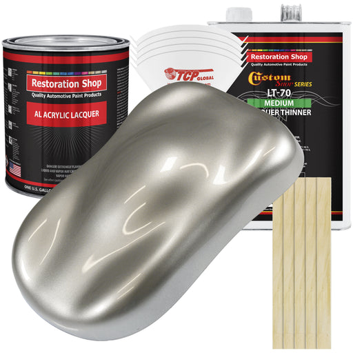 Pewter Silver Metallic - Acrylic Lacquer Auto Paint - Complete Gallon Paint Kit with Medium Thinner - Professional Gloss Automotive, Car, Truck, Guitar & Furniture Refinish Coating