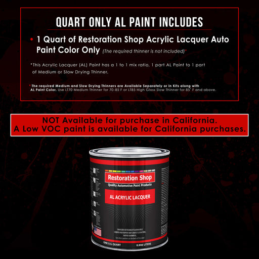 Dark Charcoal Metallic - Acrylic Lacquer Auto Paint - Quart Paint Color Only - Professional Gloss Automotive, Car, Truck, Guitar & Furniture Refinish Coating