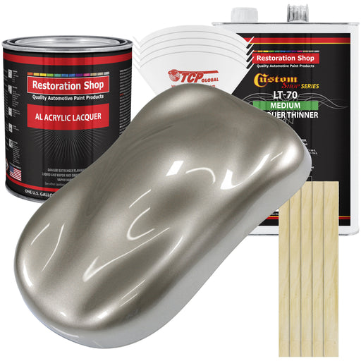 Warm Gray Metallic - Acrylic Lacquer Auto Paint - Complete Gallon Paint Kit with Medium Thinner - Professional Gloss Automotive, Car, Truck, Guitar & Furniture Refinish Coating