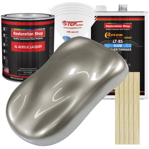 Warm Gray Metallic - Acrylic Lacquer Auto Paint - Complete Gallon Paint Kit with Slow Dry Thinner - Professional Gloss Automotive, Car, Truck, Guitar, Furniture Refinish Coating