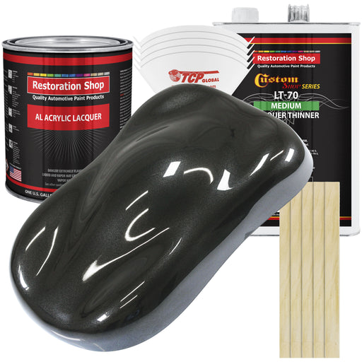 Black Metallic - Acrylic Lacquer Auto Paint - Complete Gallon Paint Kit with Medium Thinner - Professional Gloss Automotive, Car, Truck, Guitar & Furniture Refinish Coating