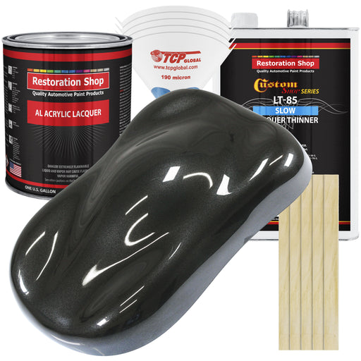 Black Metallic - Acrylic Lacquer Auto Paint - Complete Gallon Paint Kit with Slow Dry Thinner - Professional Gloss Automotive, Car, Truck, Guitar, Furniture Refinish Coating