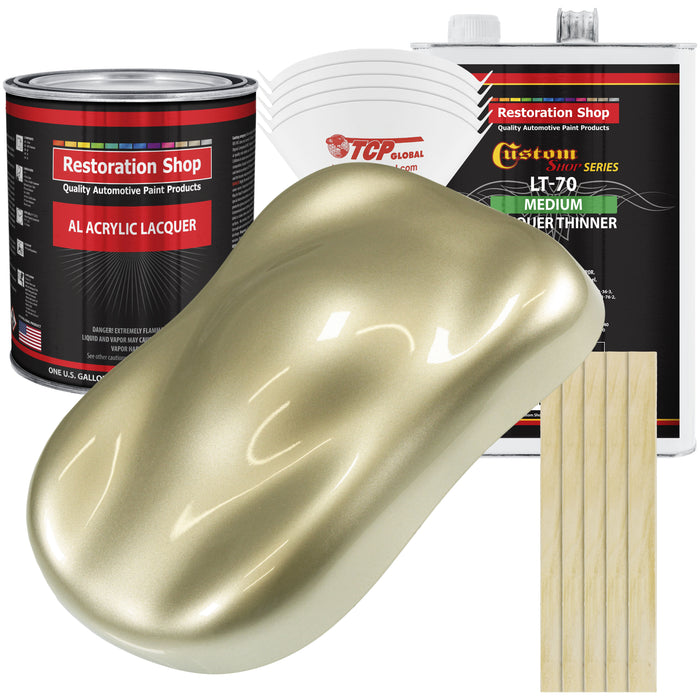 Antique Gold Metallic - Acrylic Lacquer Auto Paint - Complete Gallon Paint Kit with Medium Thinner - Professional Gloss Automotive, Car, Truck, Guitar & Furniture Refinish Coating