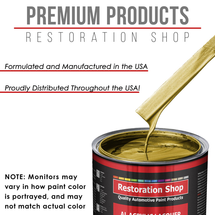 Anniversary Gold Metallic - Acrylic Lacquer Auto Paint - Complete Quart Paint Kit with Medium Thinner - Professional Gloss Automotive, Car, Truck, Guitar and Furniture Refinish Coating