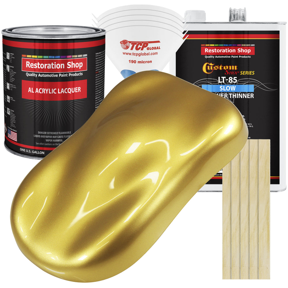 Anniversary Gold Metallic - Acrylic Lacquer Auto Paint - Complete Gallon Paint Kit with Slow Dry Thinner - Professional Gloss Automotive, Car, Truck, Guitar, Furniture Refinish Coating