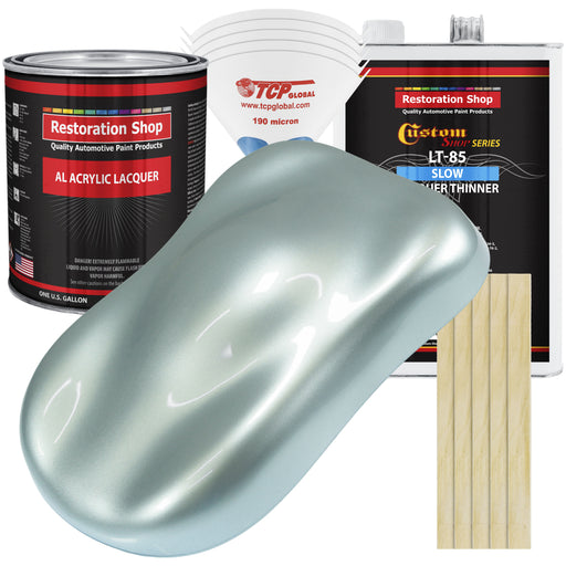 Frost Blue Metallic - Acrylic Lacquer Auto Paint - Complete Gallon Paint Kit with Slow Dry Thinner - Professional Gloss Automotive, Car, Truck, Guitar, Furniture Refinish Coating