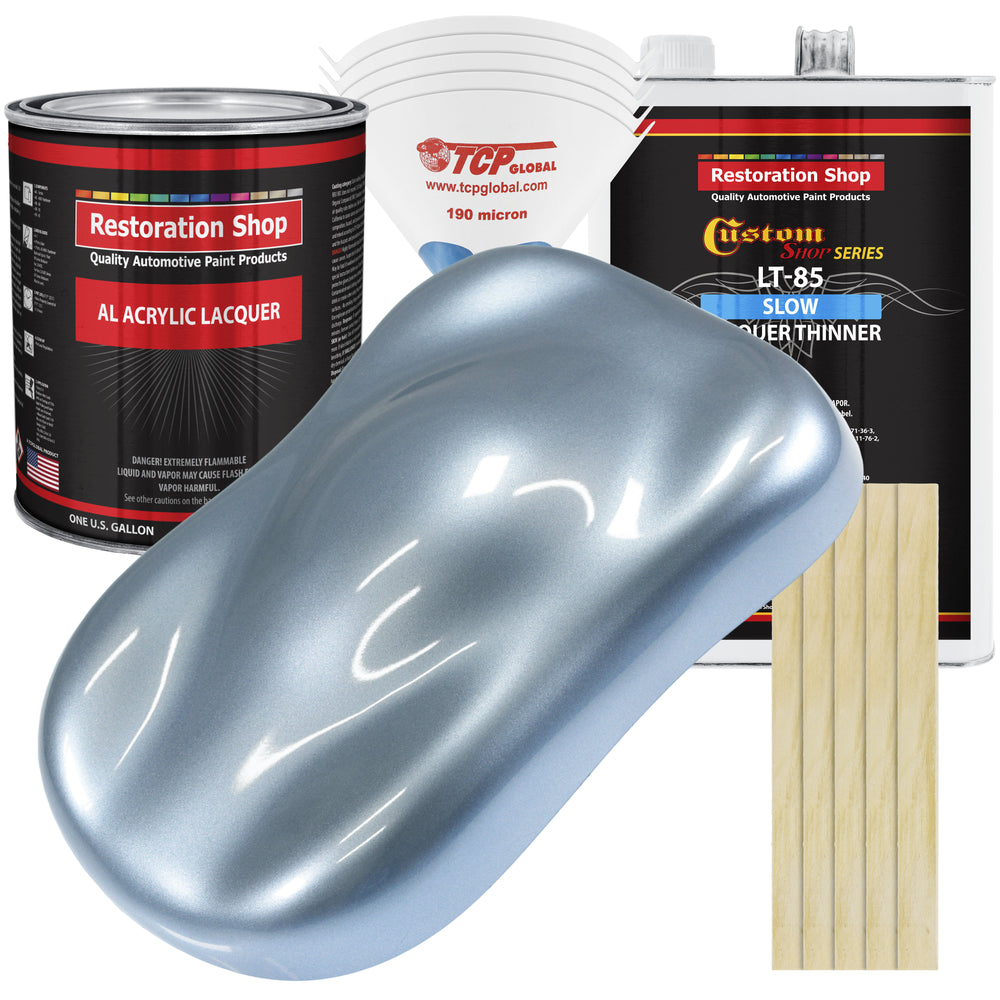 Glacier Blue Metallic - Acrylic Lacquer Auto Paint - Complete Gallon Paint Kit with Slow Dry Thinner - Professional Gloss Automotive, Car, Truck, Guitar, Furniture Refinish Coating