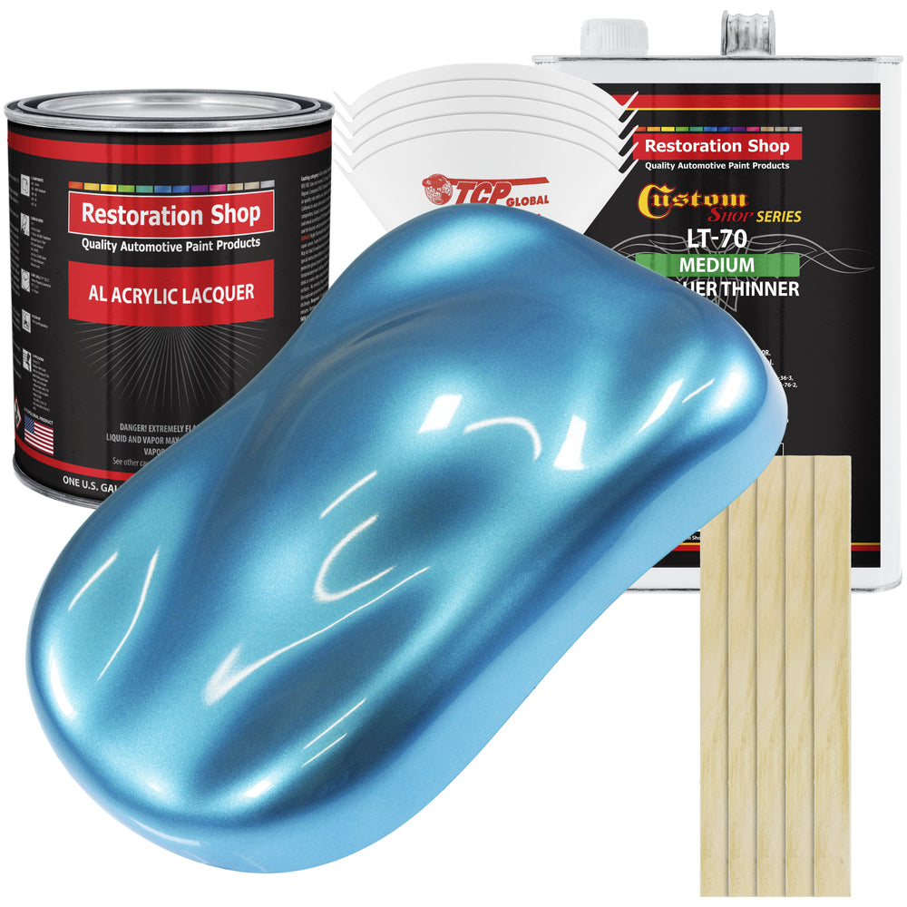 Electric Blue Metallic - Acrylic Lacquer Auto Paint - Complete Gallon Paint Kit with Medium Thinner - Professional Gloss Automotive, Car, Truck, Guitar & Furniture Refinish Coating
