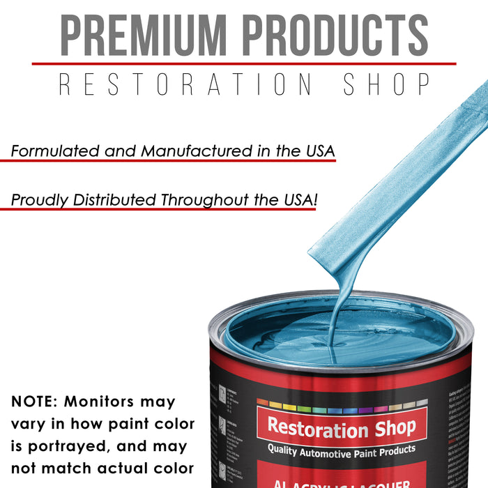 Electric Blue Metallic - Acrylic Lacquer Auto Paint - Complete Quart Paint Kit with Medium Thinner - Professional Gloss Automotive, Car, Truck, Guitar and Furniture Refinish Coating