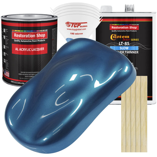 Viper Blue Metallic - Acrylic Lacquer Auto Paint - Complete Gallon Paint Kit with Slow Dry Thinner - Professional Gloss Automotive, Car, Truck, Guitar, Furniture Refinish Coating