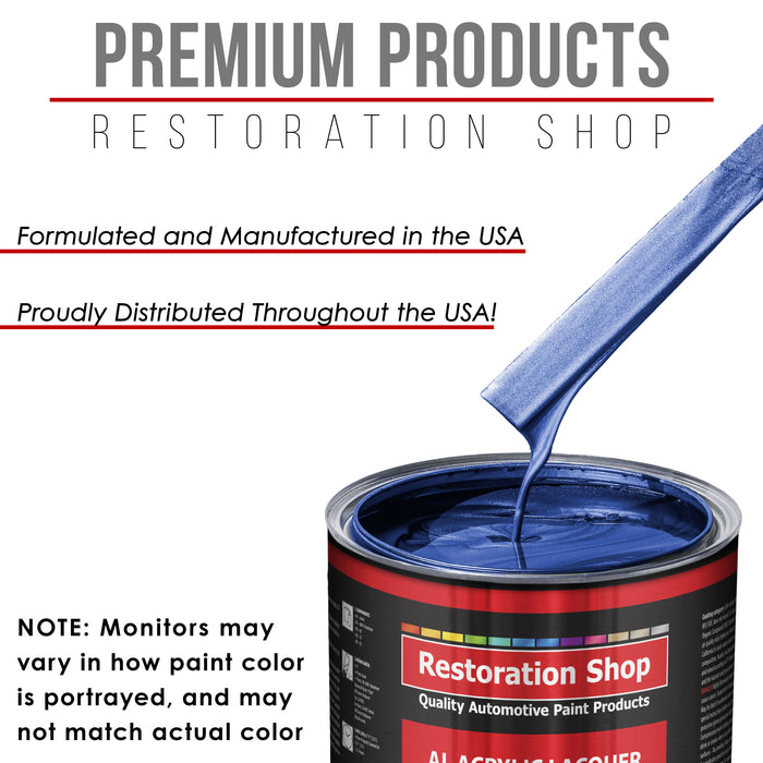 Daytona Blue Pearl - Acrylic Lacquer Auto Paint - Complete Gallon Paint Kit with Slow Dry Thinner - Professional Gloss Automotive, Car, Truck, Guitar, Furniture Refinish Coating