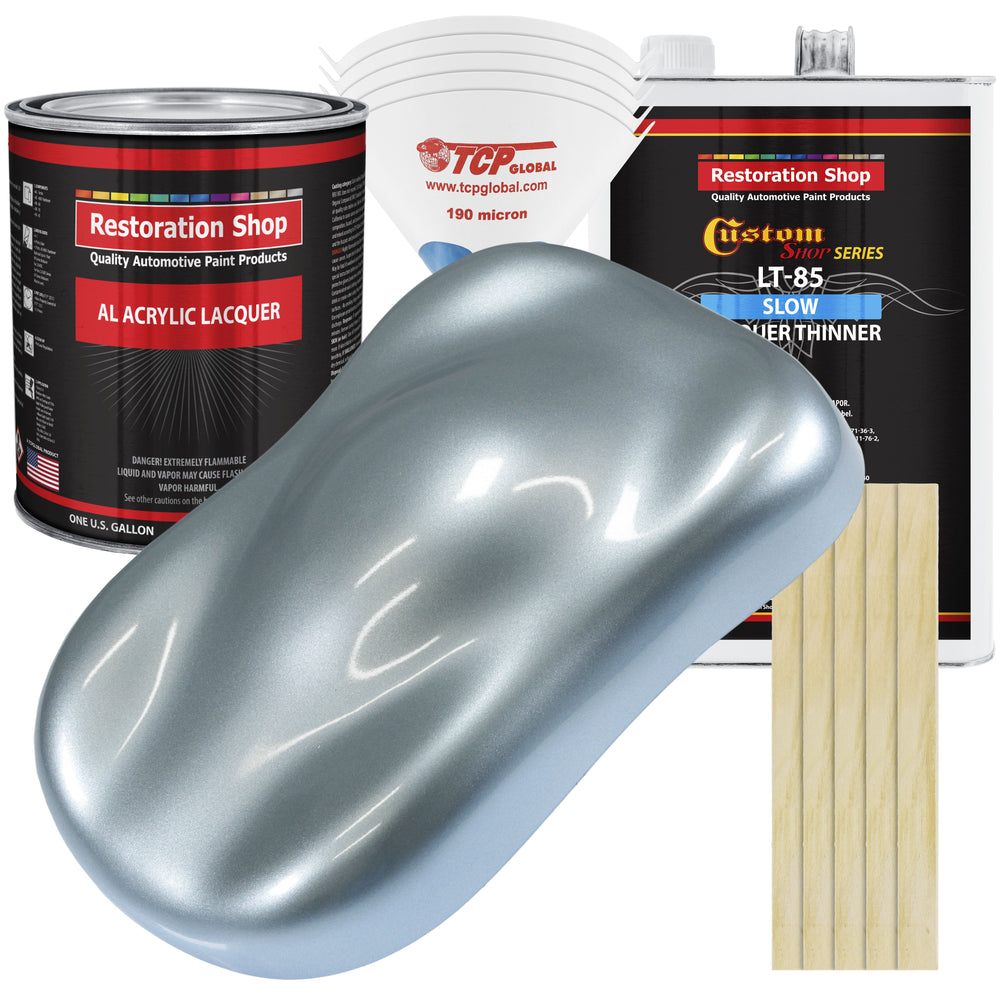Ice Blue Metallic - Acrylic Lacquer Auto Paint - Complete Gallon Paint Kit with Slow Dry Thinner - Professional Gloss Automotive, Car, Truck, Guitar, Furniture Refinish Coating