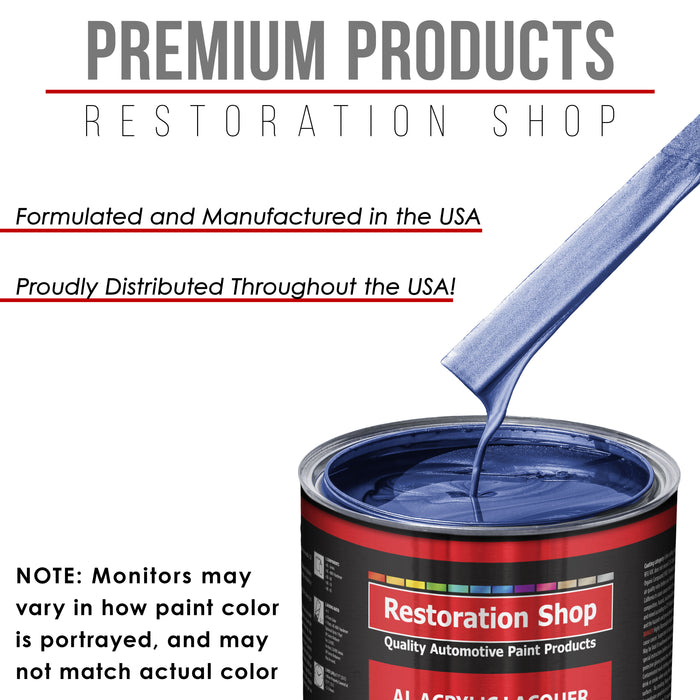 Cosmic Blue Metallic - Acrylic Lacquer Auto Paint - Complete Quart Paint Kit with Medium Thinner - Professional Gloss Automotive, Car, Truck, Guitar and Furniture Refinish Coating