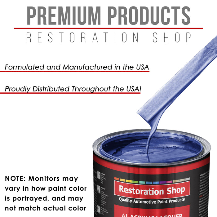 Indigo Blue Metallic - Acrylic Lacquer Auto Paint - Complete Quart Paint Kit with Medium Thinner - Professional Gloss Automotive, Car, Truck, Guitar and Furniture Refinish Coating