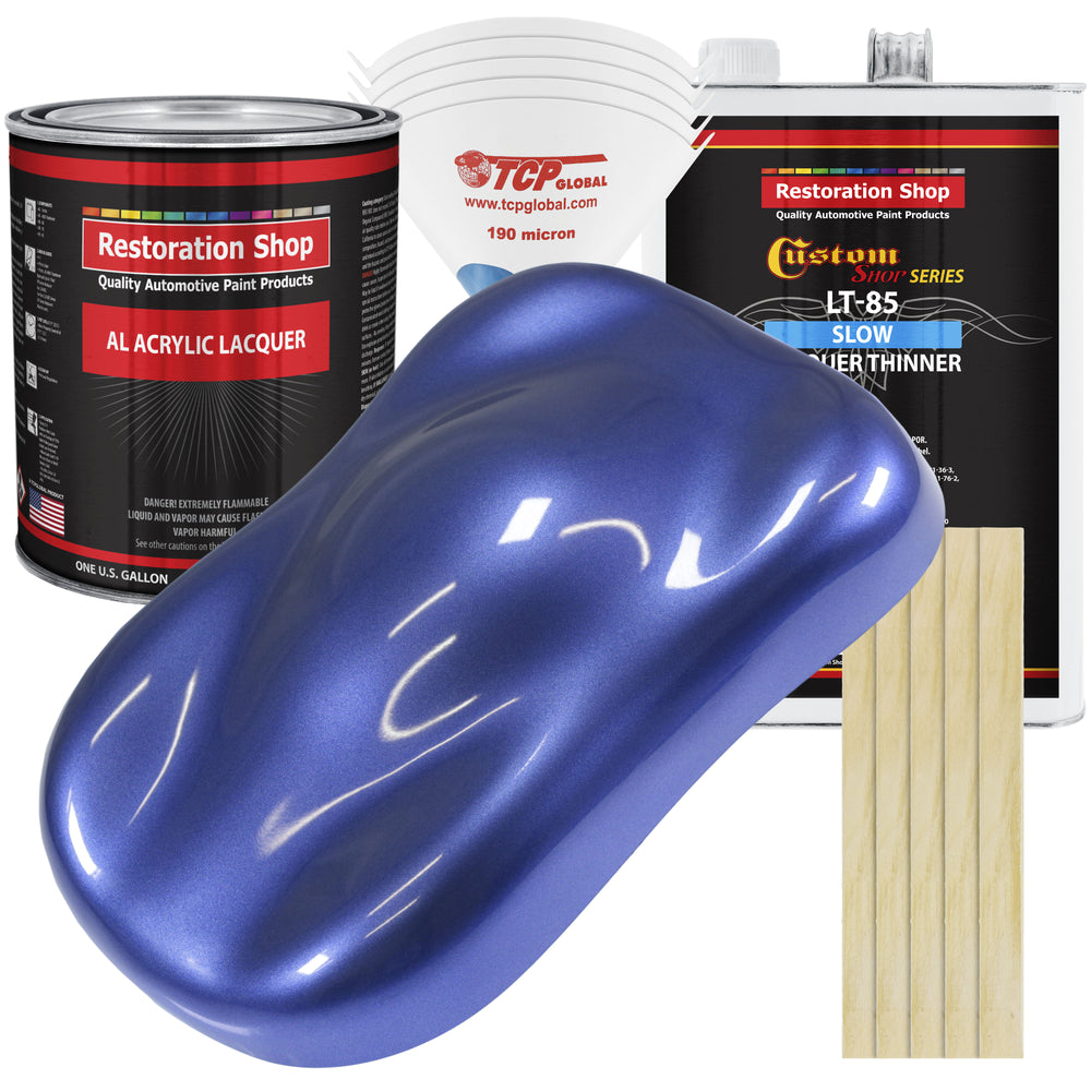 Indigo Blue Metallic - Acrylic Lacquer Auto Paint - Complete Gallon Paint Kit with Slow Dry Thinner - Professional Gloss Automotive, Car, Truck, Guitar, Furniture Refinish Coating