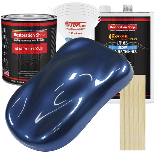 Sapphire Blue Metallic - Acrylic Lacquer Auto Paint - Complete Gallon Paint Kit with Slow Dry Thinner - Professional Gloss Automotive, Car, Truck, Guitar, Furniture Refinish Coating