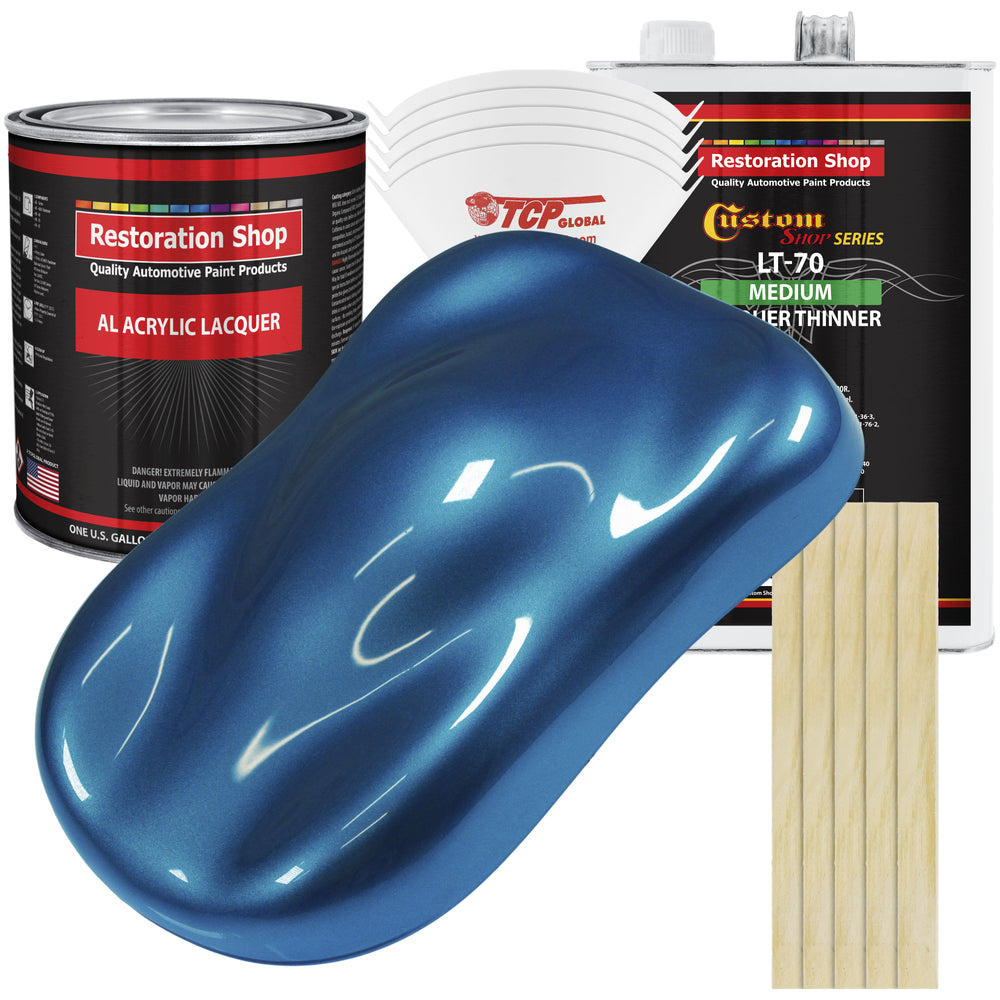 Cruise Night Blue Metallic - Acrylic Lacquer Auto Paint - Complete Gallon Paint Kit with Medium Thinner - Professional Gloss Automotive, Car, Truck, Guitar & Furniture Refinish Coating