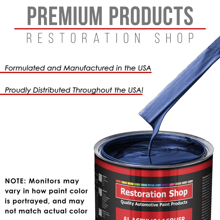Daytona Blue Metallic - Acrylic Lacquer Auto Paint - Complete Quart Paint Kit with Medium Thinner - Professional Gloss Automotive, Car, Truck, Guitar and Furniture Refinish Coating
