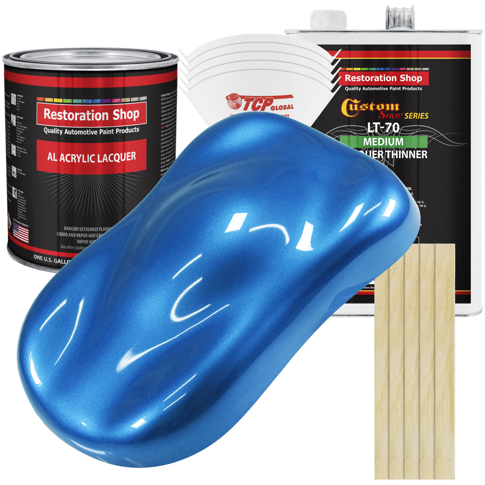 Fiji Blue Metallic - Acrylic Lacquer Auto Paint - Complete Gallon Paint Kit with Medium Thinner - Professional Gloss Automotive, Car, Truck, Guitar & Furniture Refinish Coating