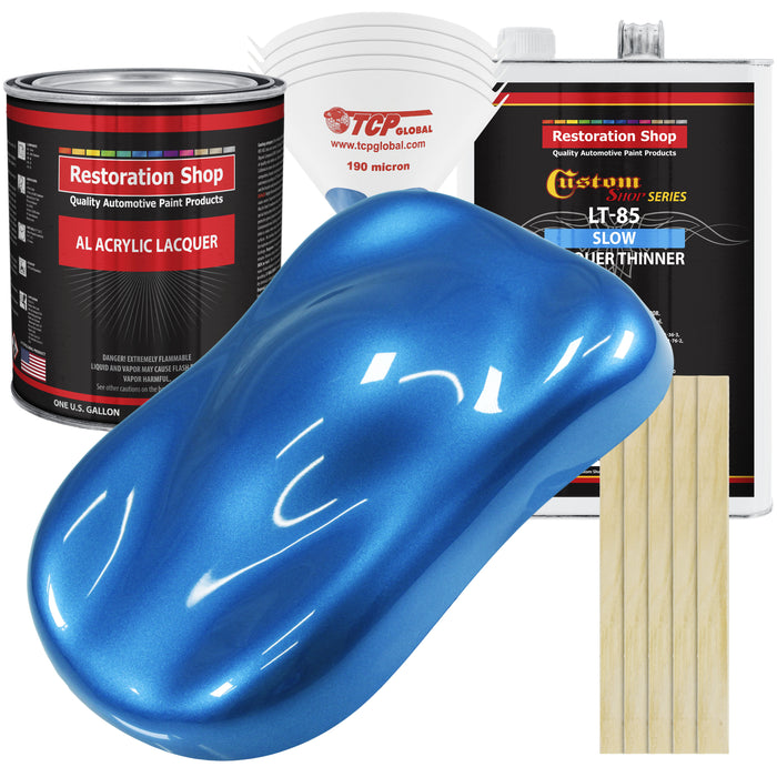 Fiji Blue Metallic - Acrylic Lacquer Auto Paint - Complete Gallon Paint Kit with Slow Dry Thinner - Professional Gloss Automotive, Car, Truck, Guitar, Furniture Refinish Coating