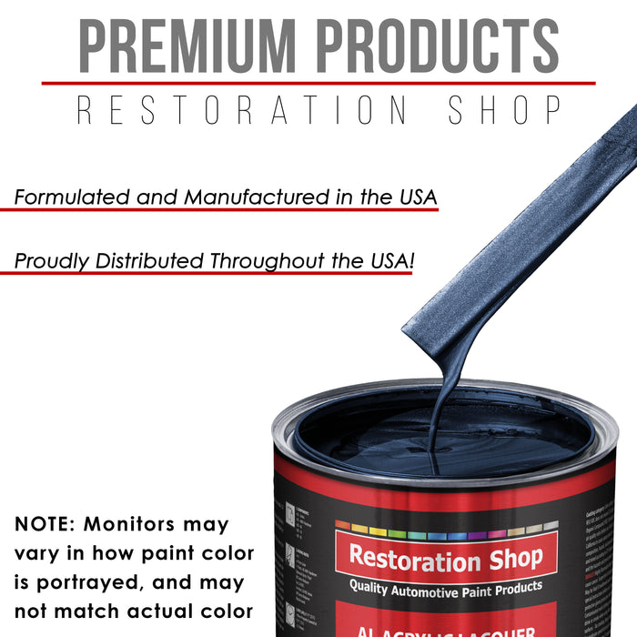Dark Midnight Blue Pearl - Acrylic Lacquer Auto Paint - Complete Quart Paint Kit with Medium Thinner - Professional Gloss Automotive, Car, Truck, Guitar and Furniture Refinish Coating