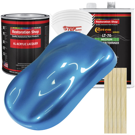 Intense Blue Metallic - Acrylic Lacquer Auto Paint - Complete Gallon Paint Kit with Medium Thinner - Professional Gloss Automotive, Car, Truck, Guitar & Furniture Refinish Coating