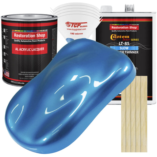 Intense Blue Metallic - Acrylic Lacquer Auto Paint - Complete Gallon Paint Kit with Slow Dry Thinner - Professional Gloss Automotive, Car, Truck, Guitar, Furniture Refinish Coating