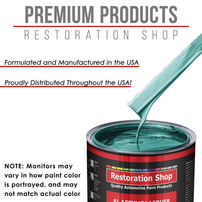 Gulfstream Aqua Metallic - Acrylic Lacquer Auto Paint - Complete Quart Paint Kit with Medium Thinner - Professional Gloss Automotive, Car, Truck, Guitar and Furniture Refinish Coating